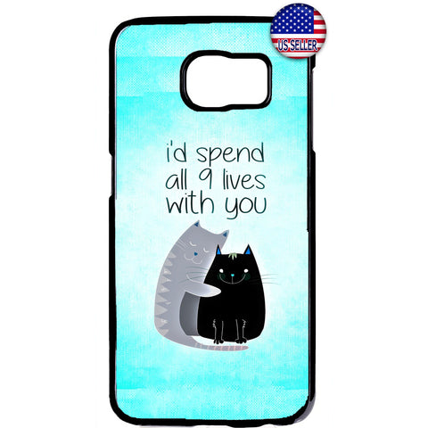 Cat Pet 9 Lives Kitty Rubber Case Cover For Samsung Galaxy