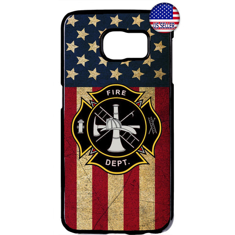 USA Flag Firefighter Fire Department Rubber Case Cover For Samsung Galaxy