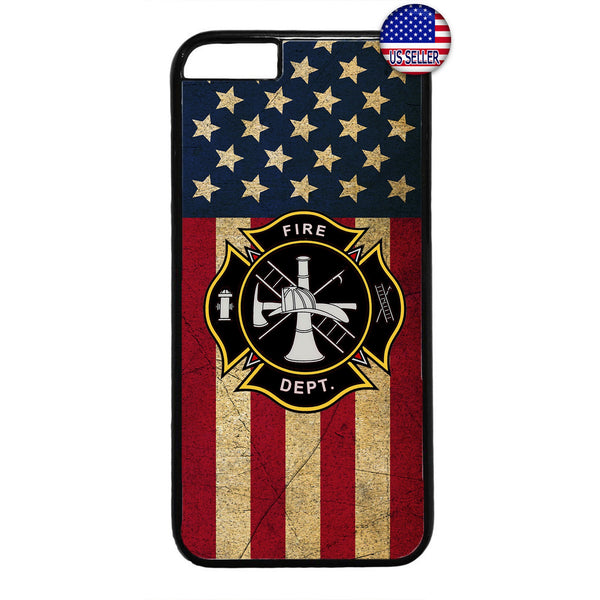 USA Flag Firefighter Fire Department Rubber Case Cover For Iphone