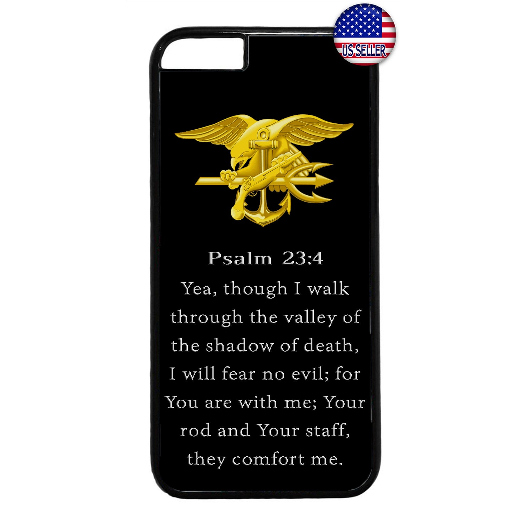 US Navy Seals Gold Bible Military Forces Rubber Case Cover For Iphone