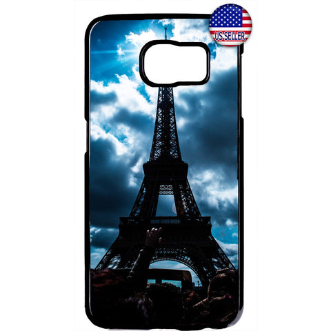 Cloudy Eiffel Tower Paris France Rubber Case Cover For Samsung Galaxy
