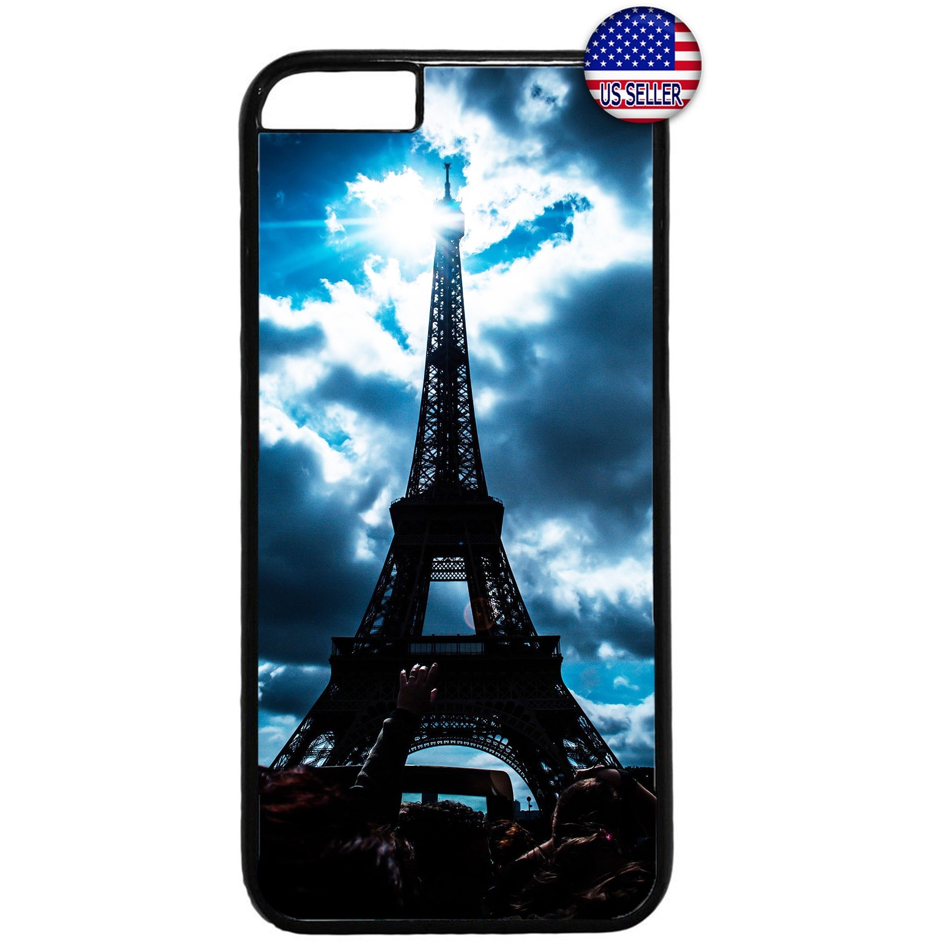 Cloudy Eiffel Tower Paris France Rubber Case Cover For Iphone