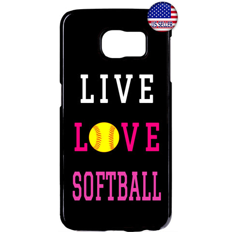 Live Love Softball Sport Rubber Case Cover For Samsung Galaxy