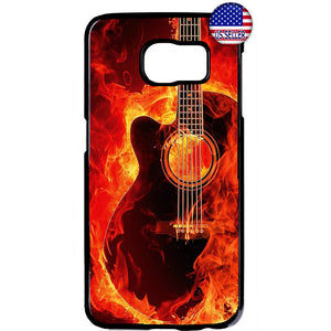 Music Flames Guitar Art Rubber Case Cover For Samsung Galaxy