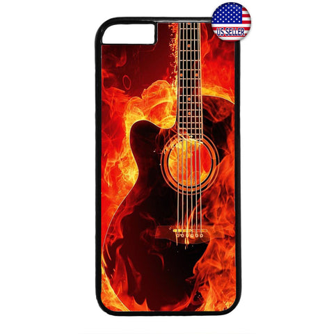 Music Flames Guitar Art Rubber Case Cover For Iphone
