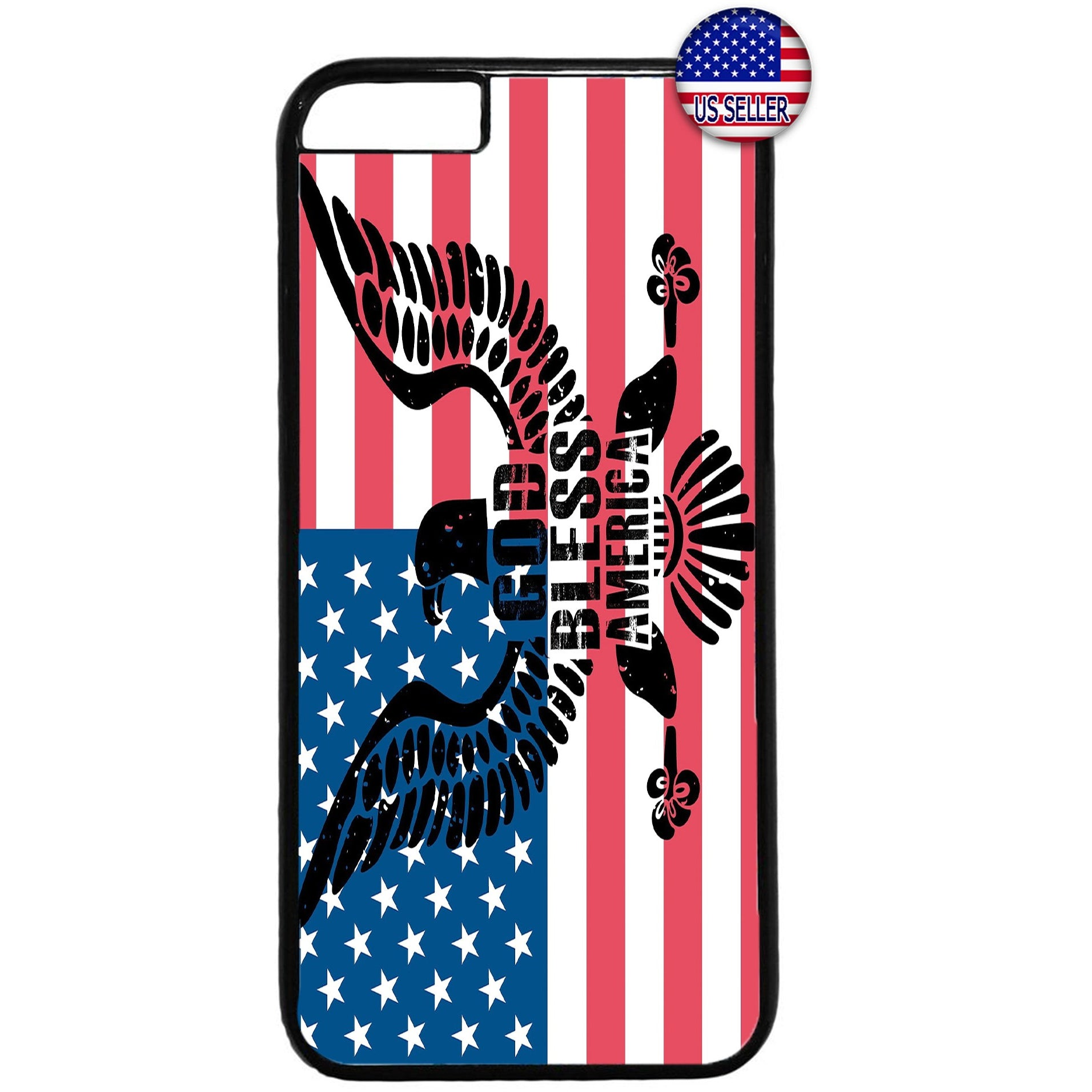 God Bless USA Flag Rubber Case Cover For Iphone