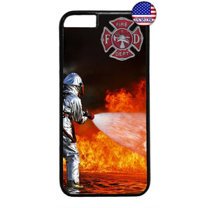 Fireman Flames Rescue Fire Dept. Rubber Case Cover For Iphone