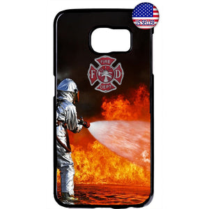 Fireman Flames Rescue Fire Dept. Rubber Case Cover For Samsung Galaxy