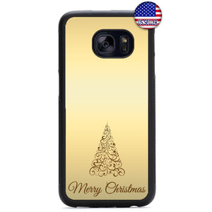 Gold Merry Christmas Rubber Case Cover For Samsung Galaxy