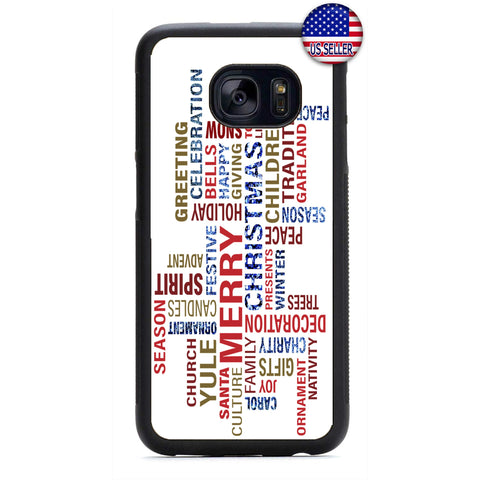 Merry Christmas Holiday Pattern Rubber Case Cover For Samsung Galaxy