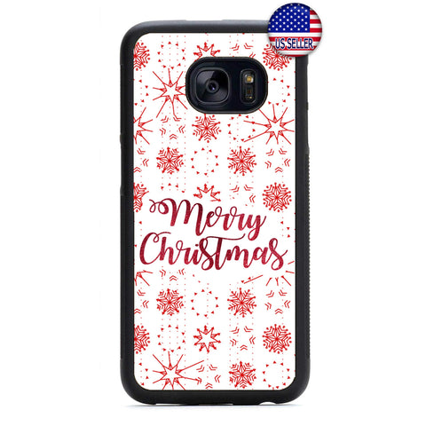 White Snow Flakes Merry Christmas Rubber Case Cover For Samsung Galaxy
