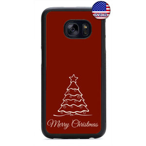 Red Merry Christmas Tree Rubber Case Cover For Samsung Galaxy