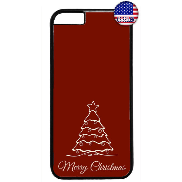 Red Merry Christmas Tree Rubber Case Cover For Iphone