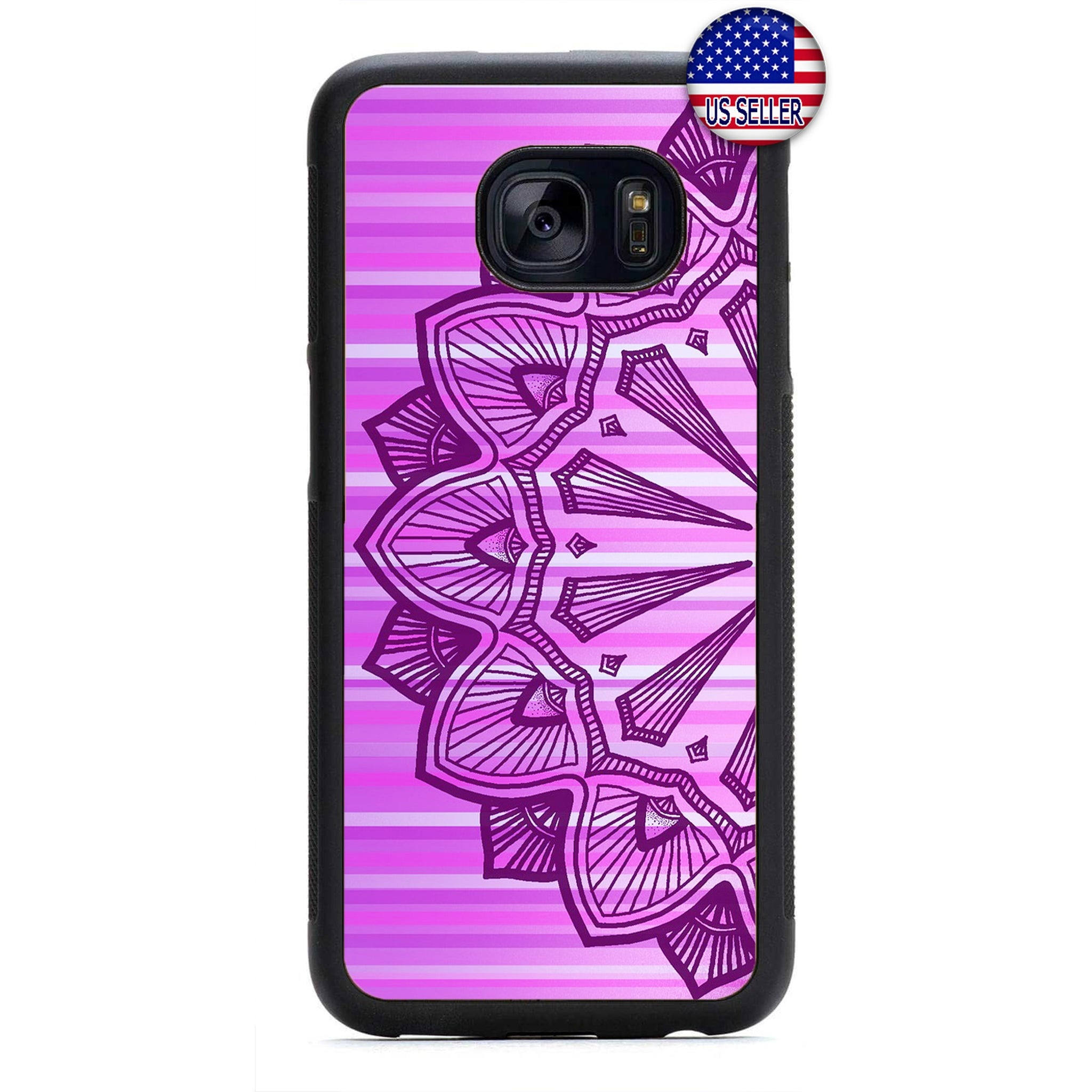 Purple Mandala Henna Rubber Case Cover For Samsung Galaxy Note