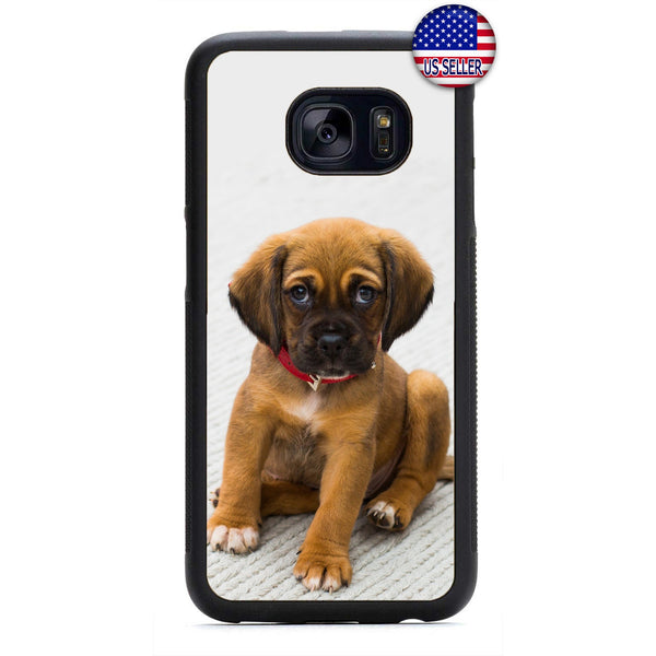 Cute Puppy Dog Red Collar Rubber Case Cover For Samsung Galaxy