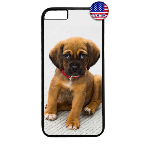 Cute Puppy Dog Red Collar Rubber Case Cover For Iphone