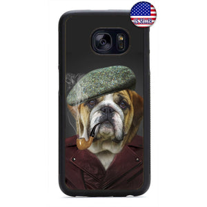 Bulldog Smoking Pipe Rubber Case Cover For Samsung Galaxy