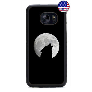 Howling Wolf Full Moon Rubber Case Cover For Samsung Galaxy