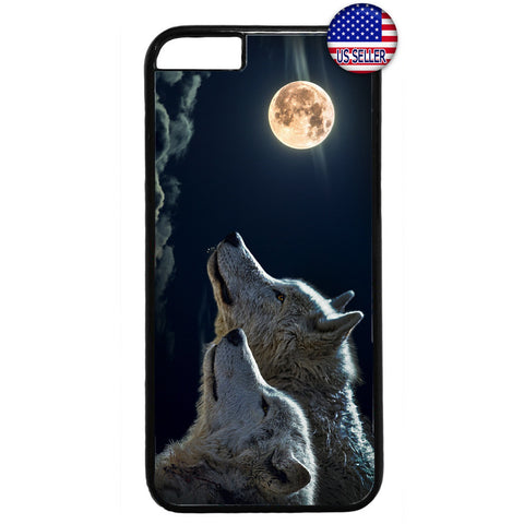 Full Moon Wolves Dog Rubber Case Cover For Iphone