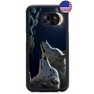 Full Moon Wolves Dog Rubber Case Cover For Samsung Galaxy