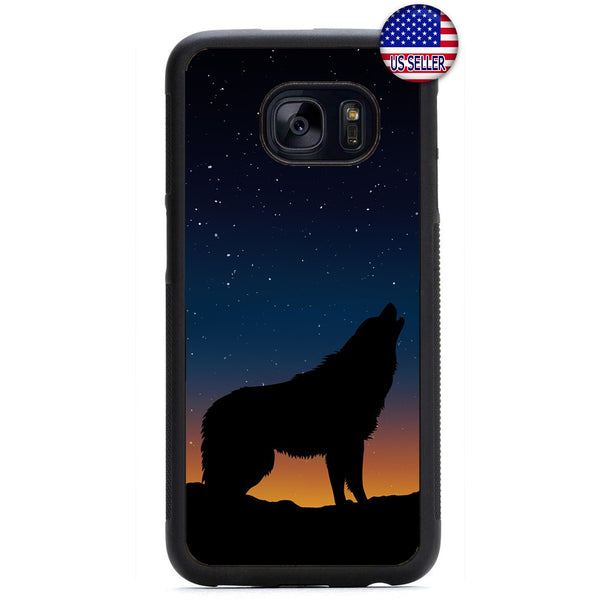 Wolf Howling At Night Rubber Case Cover For Samsung Galaxy