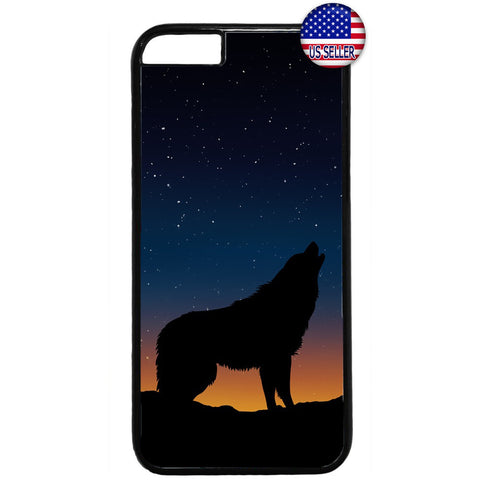 Wolf Howling At Night Rubber Case Cover For Iphone
