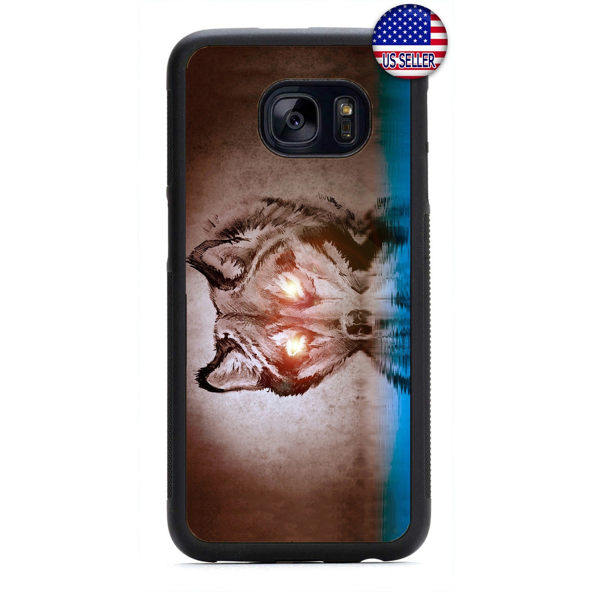 Fiery Eyes Fierce Wolf Rubber Case Cover For Samsung Galaxy