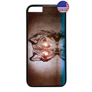 Fiery Eyes Fierce Wolf Rubber Case Cover For Iphone