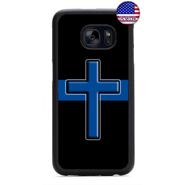 Police Force Cops Cross Blessed Rubber Case Cover For Samsung Galaxy