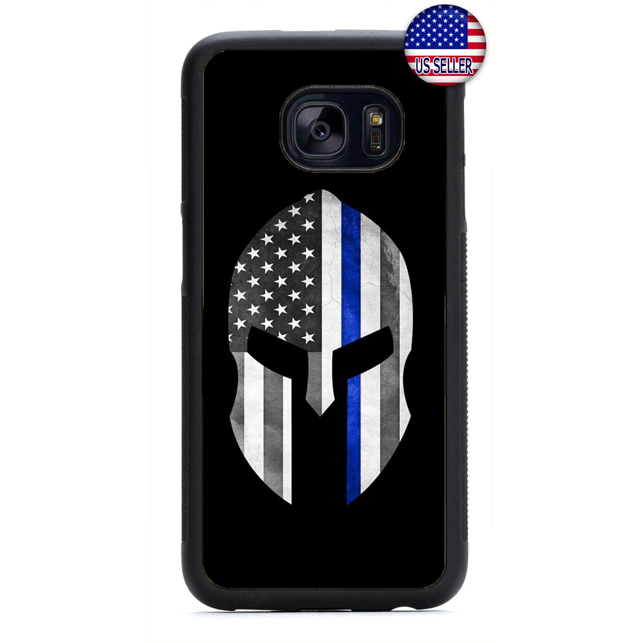 Police Force Warrior USA Flag Rubber Case Cover For Samsung Galaxy