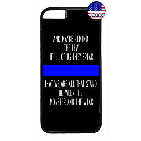 Police Force Cops Blue Line Rubber Case Cover For Iphone