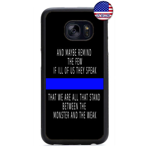 Police Force Cops Blue Line Rubber Case Cover For Samsung Galaxy