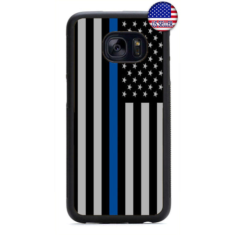 Police Force USA Flag Blue Line Rubber Case Cover For Samsung Galaxy