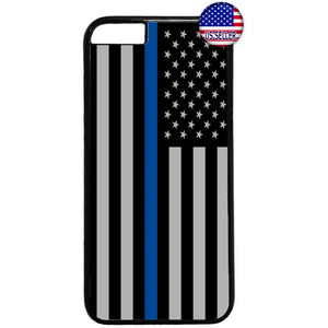 Police Force USA Flag Blue Line Rubber Case Cover For Iphone