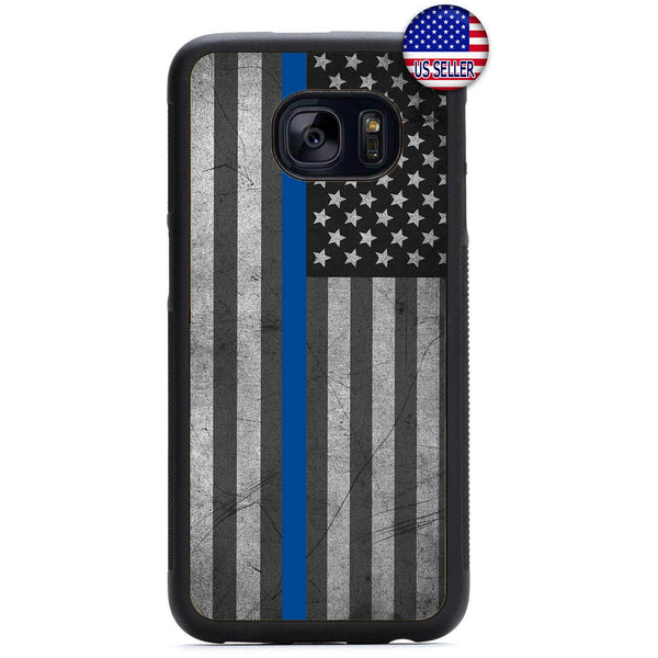 Police Force Distressed USA Flag Rubber Case Cover For Samsung Galaxy