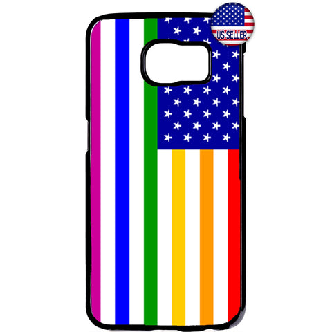 USA LGBT Rainbow Flag Homosexual Pride Rubber Case Cover For Samsung Galaxy