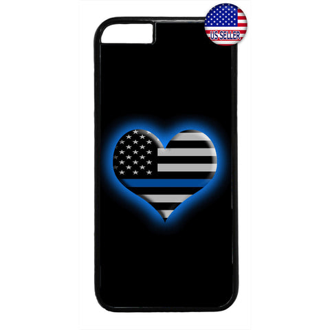 Police Blue Glowing Heart Rubber Case Cover For Iphone