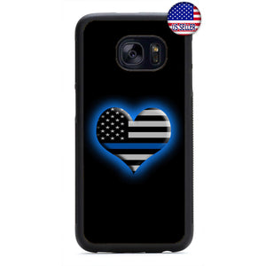 Police Blue Glowing Heart Rubber Case Cover For Samsung Galaxy