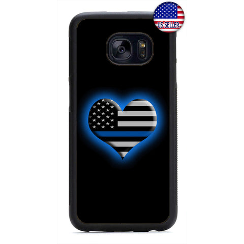 Police Blue Glowing Heart Rubber Case Cover For Samsung Galaxy Note