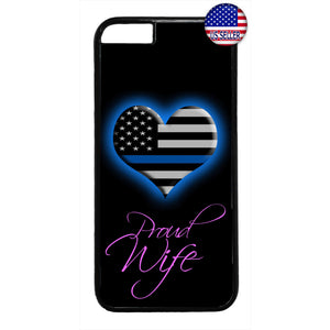 Police Wife Blue Heart Rubber Case Cover For Iphone
