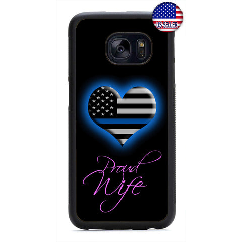 Police Wife Blue Heart Rubber Case Cover For Samsung Galaxy