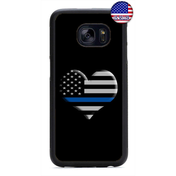 Police I Love Cops Blue Rubber Case Cover For Samsung Galaxy