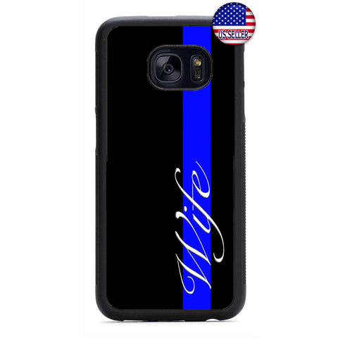 Blue Police Proud Wife Rubber Case Cover For Samsung Galaxy
