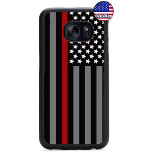 Fire Rescue Red Thin Line Rubber Case Cover For Samsung Galaxy