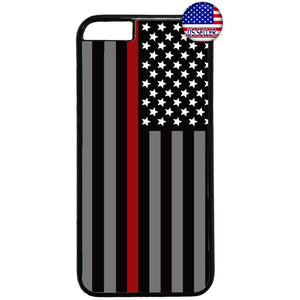Fire Rescue Red Thin Line Rubber Case Cover For Iphone