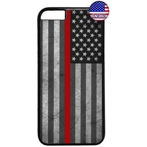 Fire Rescue USA Flag Red Rubber Case Cover For Iphone