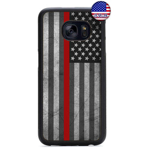 Fire Rescue USA Flag Red Rubber Case Cover For Samsung Galaxy