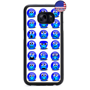 Blue Funny Smiley Faces Rubber Case Cover For Samsung Galaxy