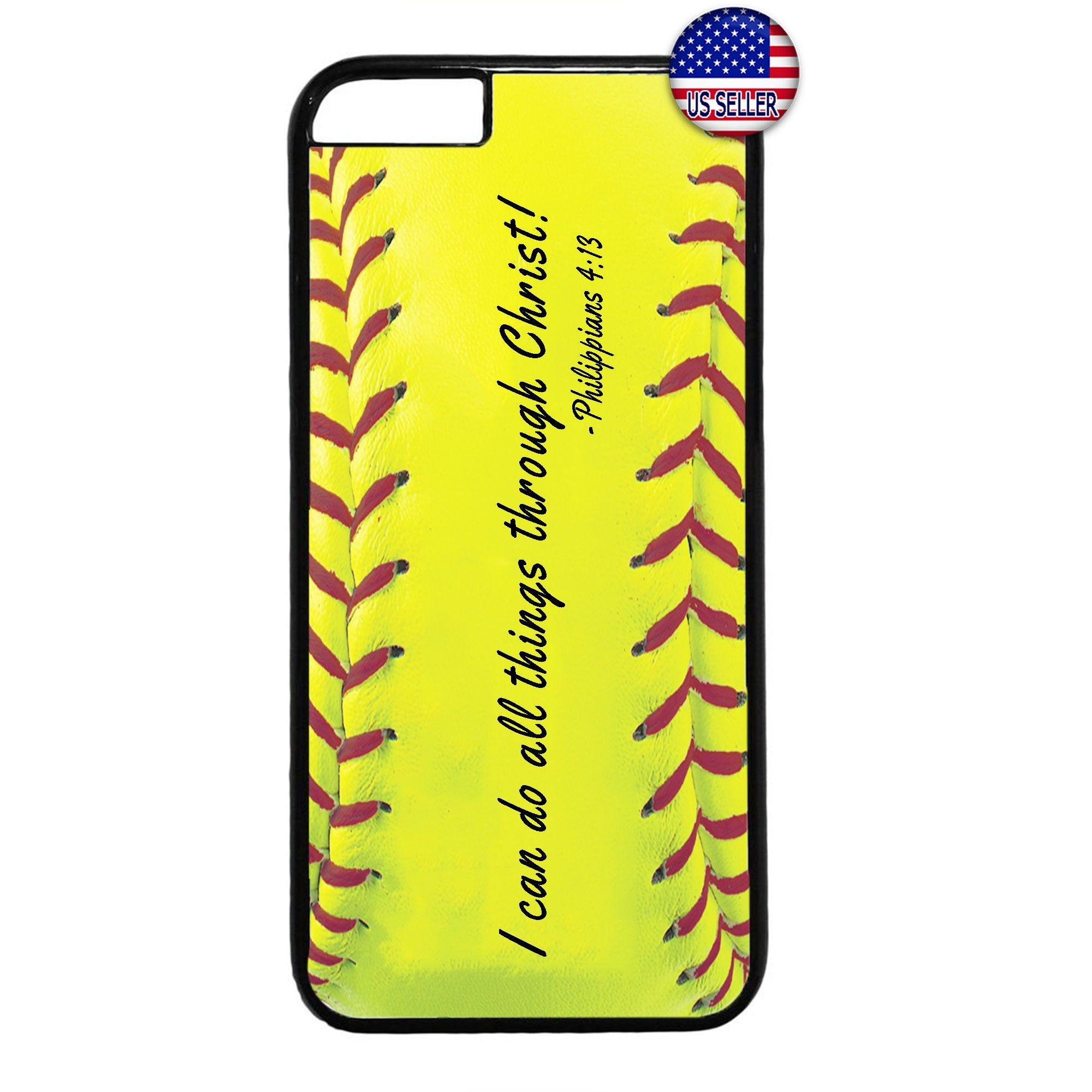 Softball Christian Bible Verse Rubber Case Cover For Iphone