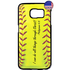 Softball Christian Bible Verse Rubber Case Cover For Samsung Galaxy